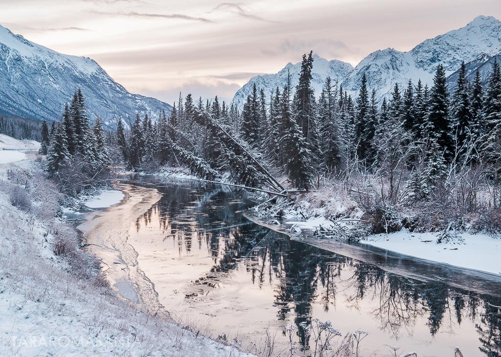 Snowy Alaska Landscape Not Quite Frozen