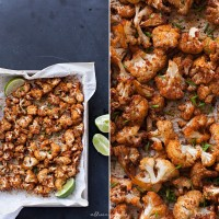 spicy roasted cauliflower food photography by allison jacobs