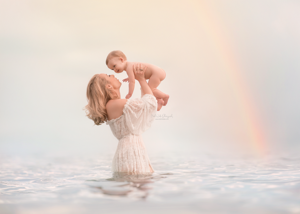 mommy and me rainbow in the lake photo by beth wade charlotte baby photographer