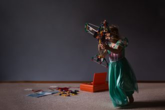 Taking flight girl in princess dress playing with toy airplane edmond oklahoma