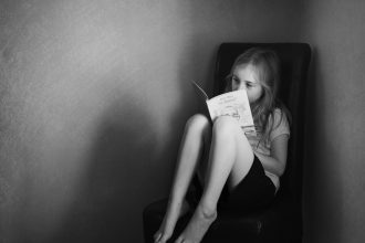 reading before school black and white texture | %22bookworm%22_by Eileen Critchley