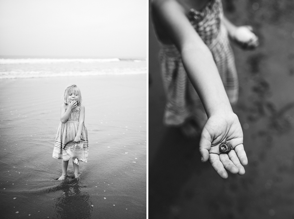 a picture of a girl holding a shell on a beach by ventura photographer elicia morton graves