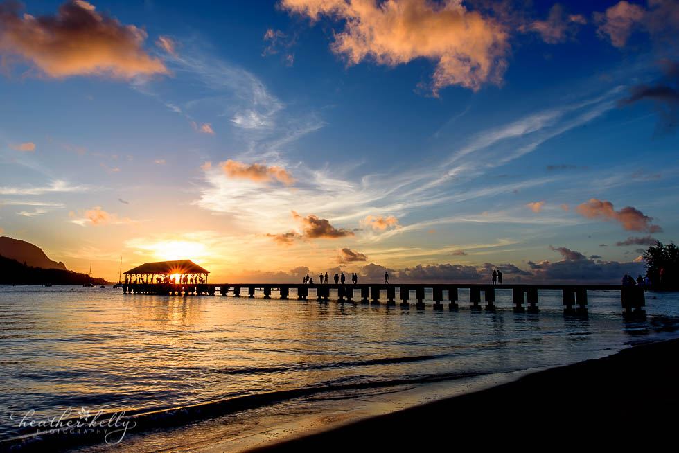 Hanalei Pier Sunset Kauai By Heather Symes