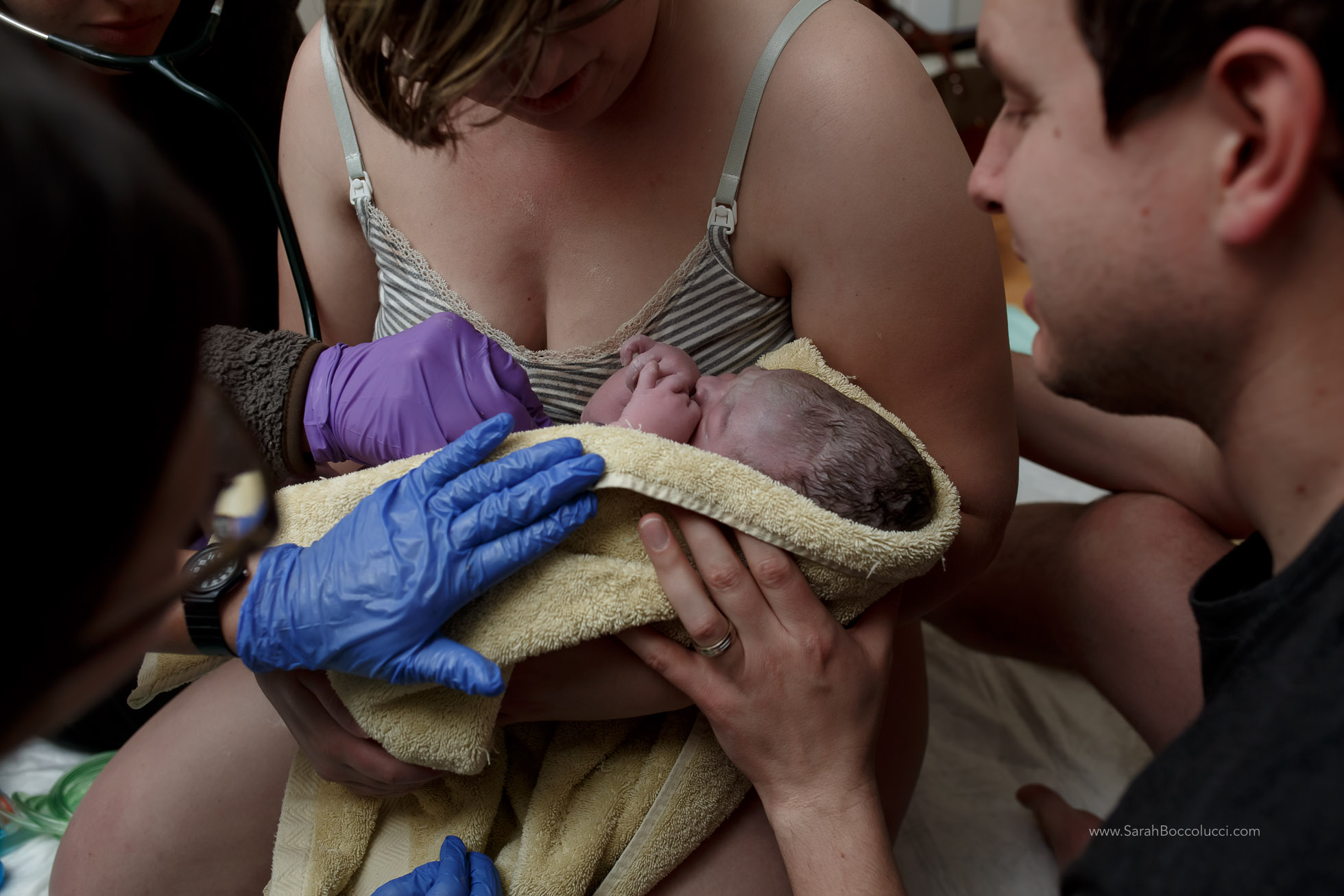 Longmont, Colorado Home birth, Midwives checking baby