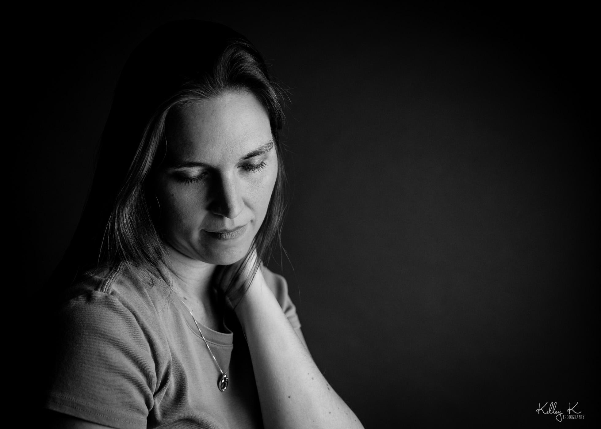 black-white-moody-self-portrait-by-KelleyKPhotography-Smyrna