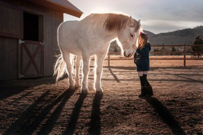 Girl petting white horse with rim light behind her