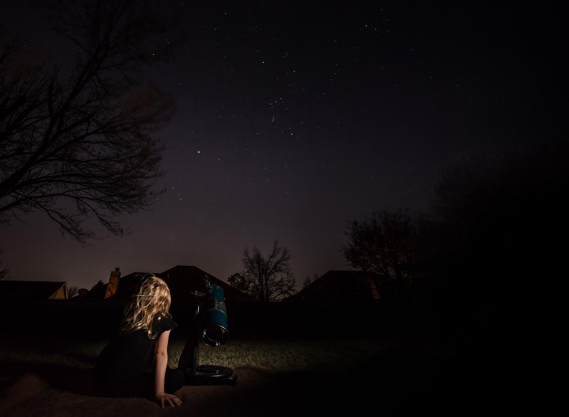 stargazer girl child telescope night photography low light photography lifestyle westcott ice light astronomy kate luber & Stargazer by Kate Luber