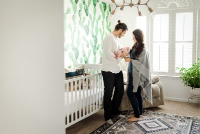 a nursery with cactuses on the wall - in home newborn photography - ashley sasak photography