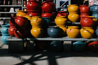 Colored Pots in Sun - Erika Roa, Little Fish Photo