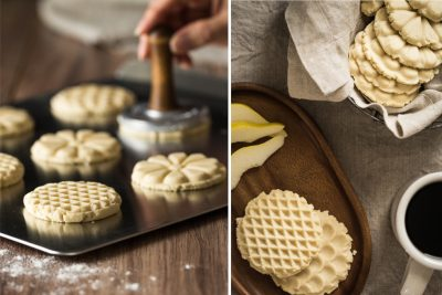 cookie baking and tasting diptych
