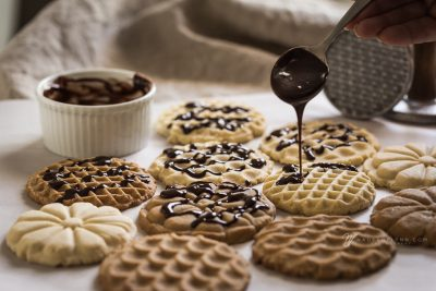 cookies drizzled with chocolate