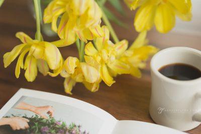 Garden Wishes gardening book tulips and coffee