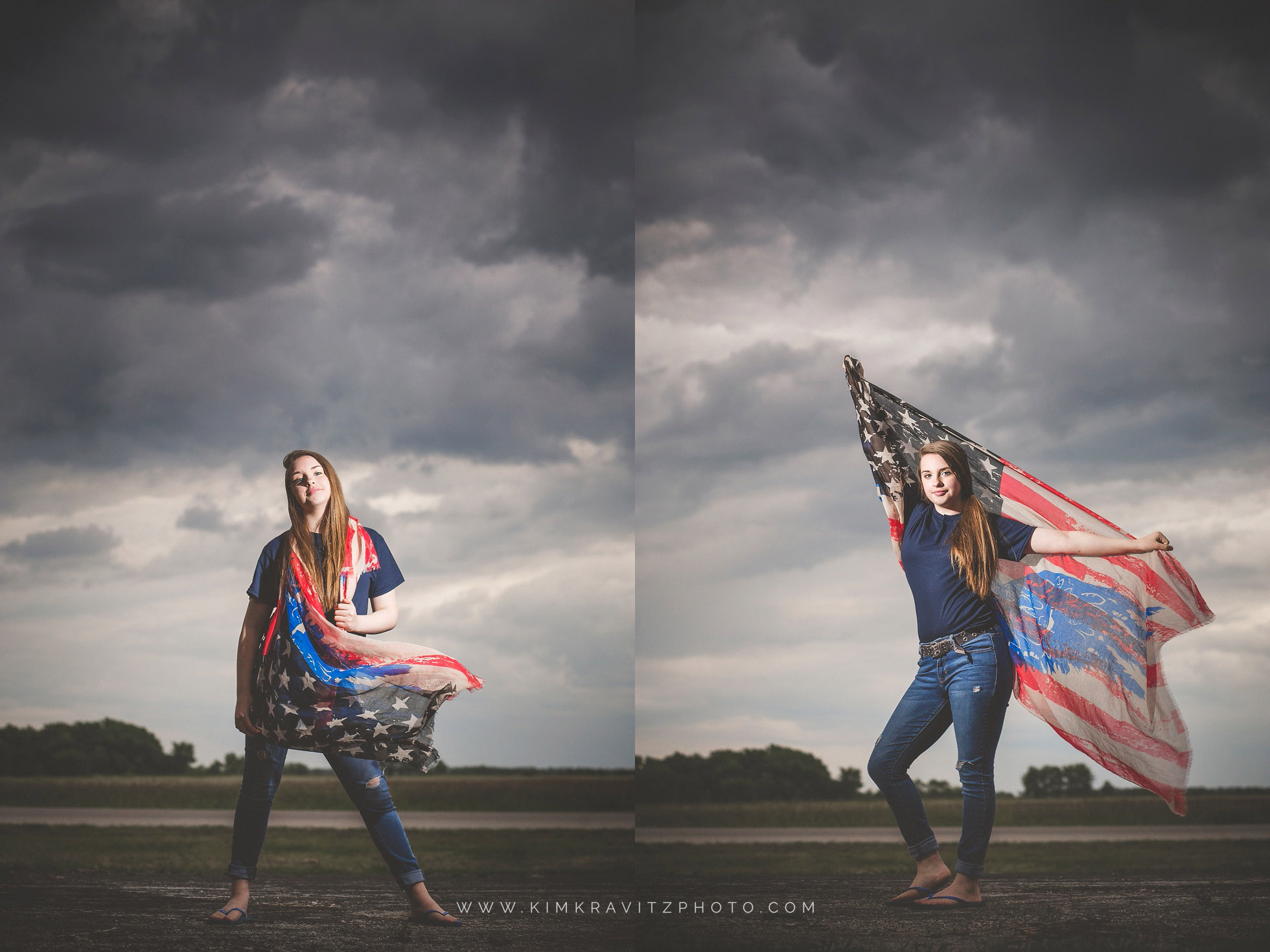 Girard Kansas High School Senior Pictures by Kim Kravitz American Flag Kansas Girl Storm Clouds