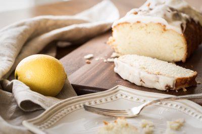 lemon poundcake with plate fork lemon