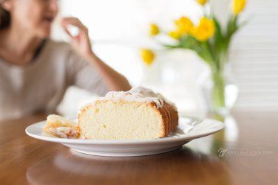 eating lemony pound cake