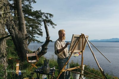 plein air artist painting on whidbey island