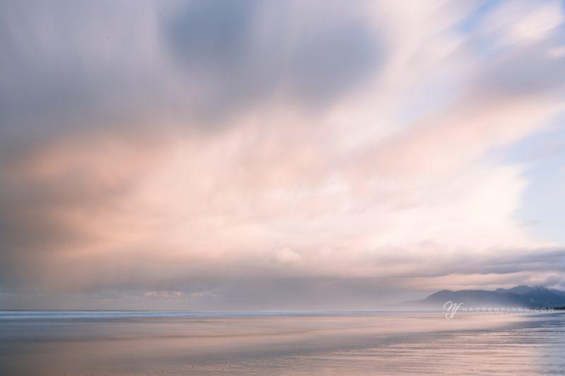 long exposure of sunrise on the beach