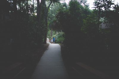 two children walking on tree-lined path tiffany kelly