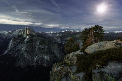 cloudy moonrise over Yosemite NP