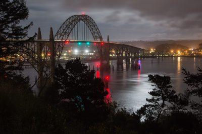 Newport, Oregon Bridge on a cloudy night