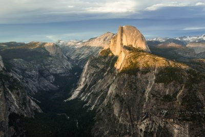 Alpenglow on Half Dome in Yosemite NP at sunset