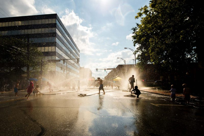 sprinklers in the street