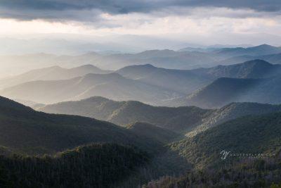 haze accentuates the layers of the Blue Ridge Mountains of North Carolina