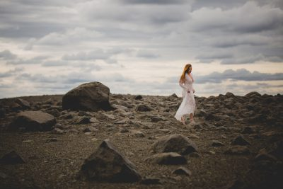 Iceland Self Portraits in a sheer white lace dress by St Pete Photographer - Tami Keehn