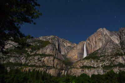 Yosemite Falls on a starry night