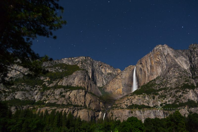 Yosemite Falls on a starry night