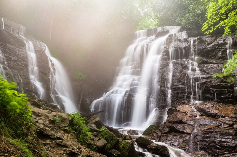 Soco Falls located on the edge of the Cherokee Indian Reservation near Maggie Valley, NC