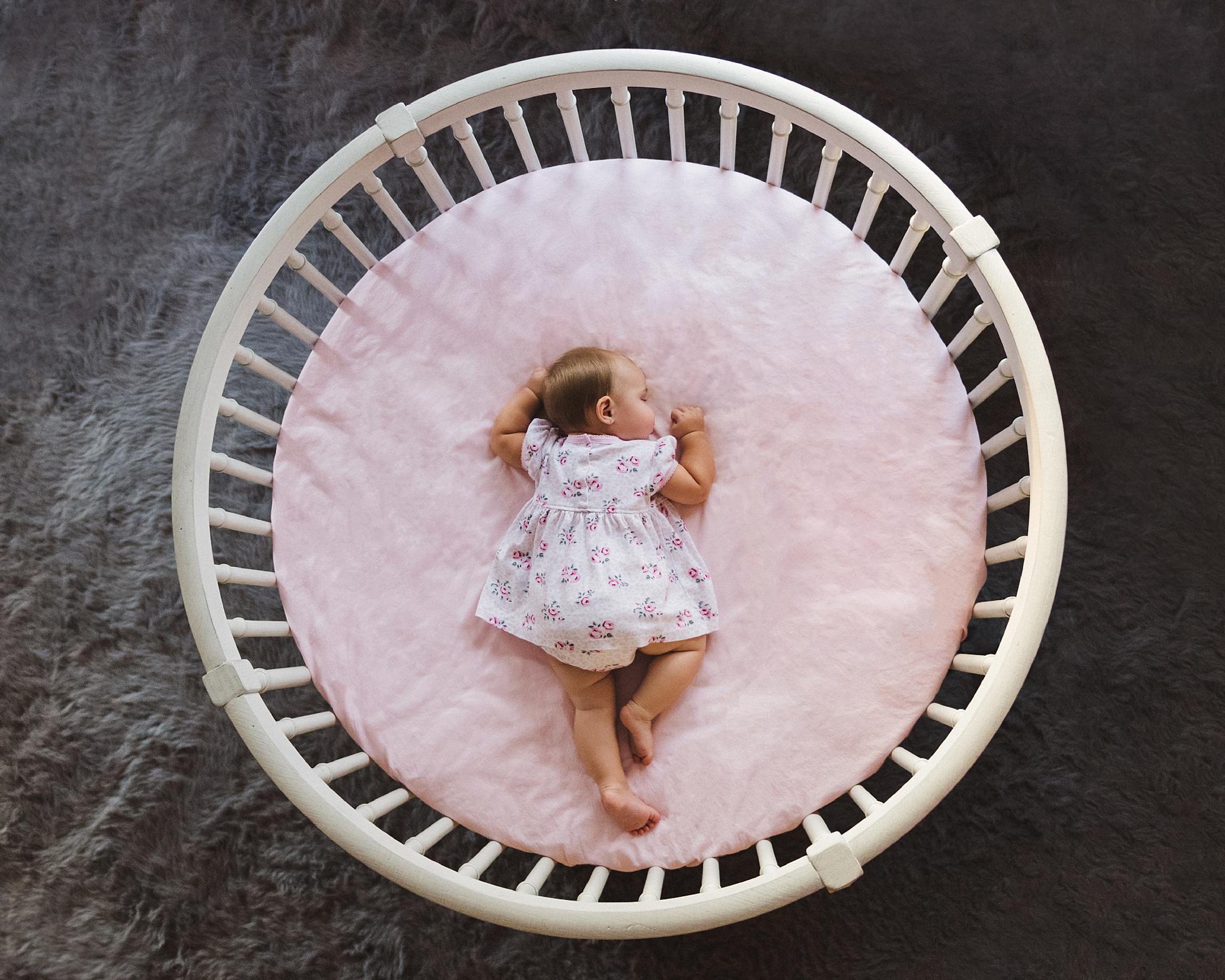 Baby Girl Sleeping Round Crib