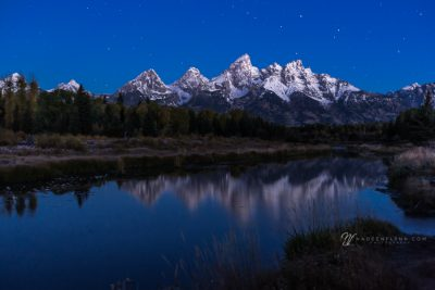 blue hour stars over the Tetons in Wyoming