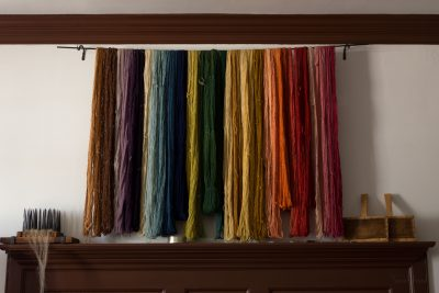 A rainbow of hand-dyed wool with natural dye.