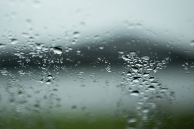 Raindrops over Portree Harbor on the Isle of Skye, Scotland