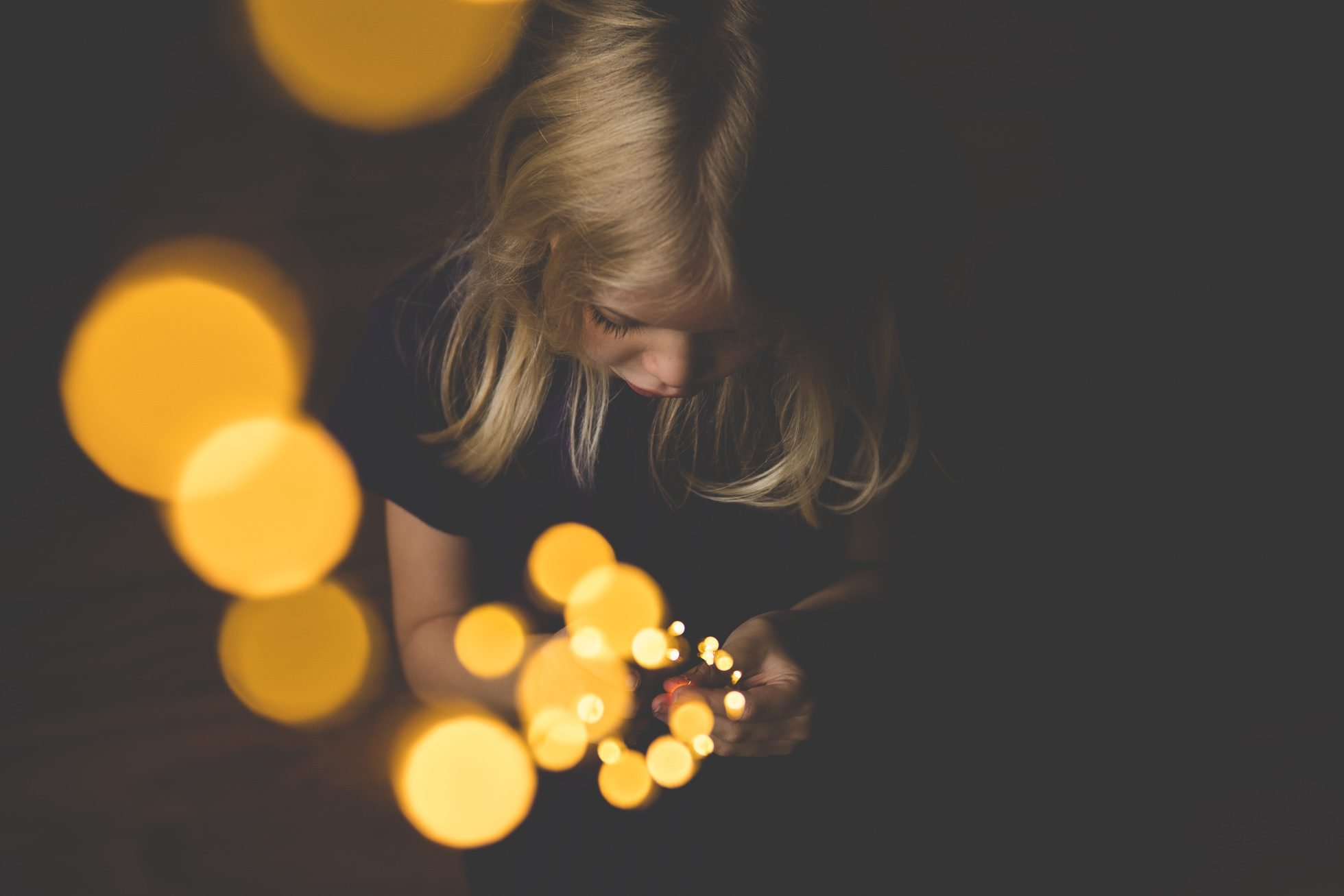 holiday light bokeh girl tiffany kelly