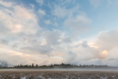 atmosphere of clouds, fog, and blue sky in Wyoming