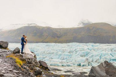 Iceland wedding by glacier