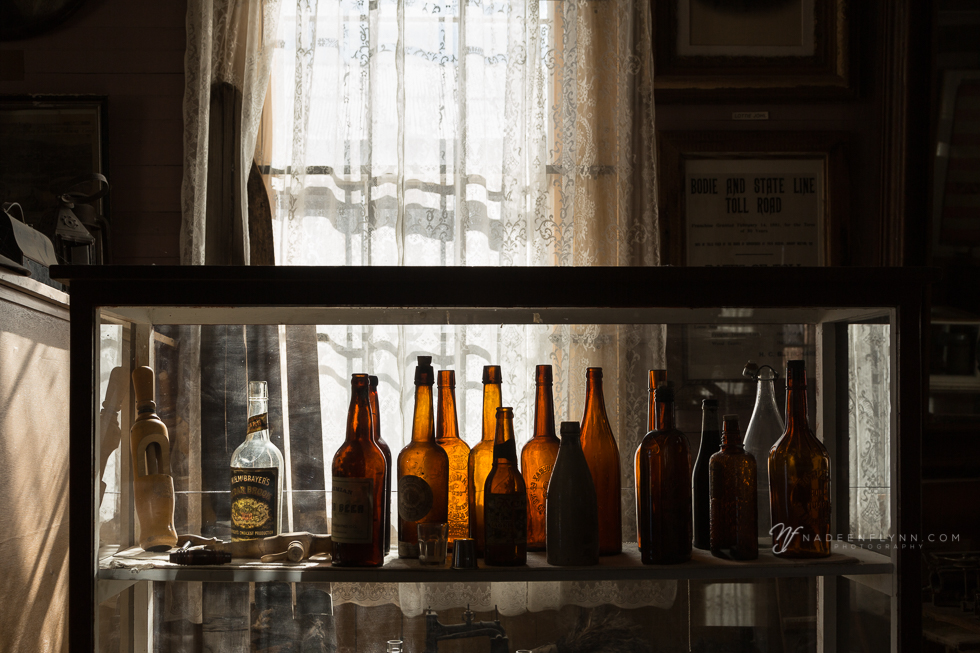 amber colored vintage bottles found in an antique store