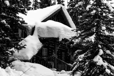 Winter Cabin, Jennifer Carr Photography Virginia Beach, black and white, snow, lake louise, canada