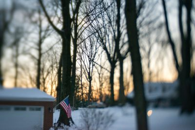 sunset in the trees with flag