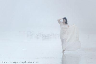 fog, birds, woman, floaty dress, flowy, foggy, florida, beach