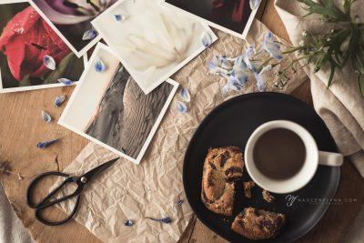 larkspur, prints, coffee flat lay