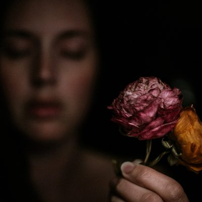 Michelle-England-Photography-dried-flowers-blur-out-of-focus-self-portrait-low-light-moody-withered-9046