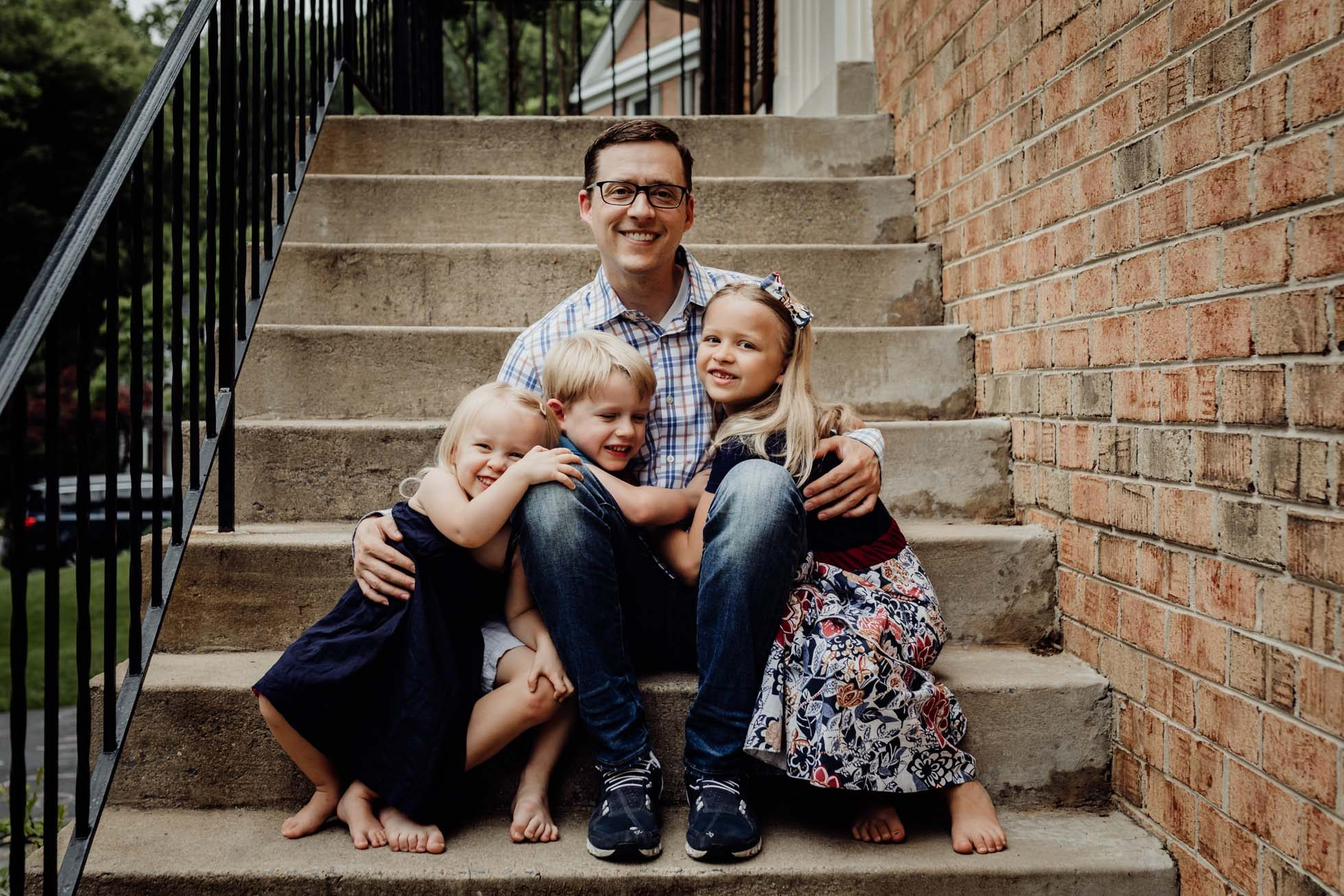 father and three children