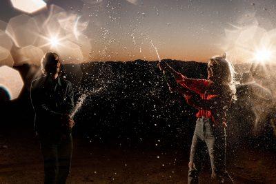 Celebrate Engagement Phoenix Couple champagne