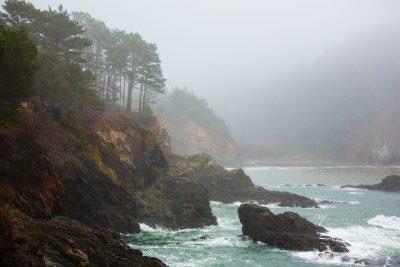 mendocino coast in the fog