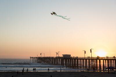 Pismo Night kites over the pier