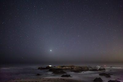 Asilomar beach at night