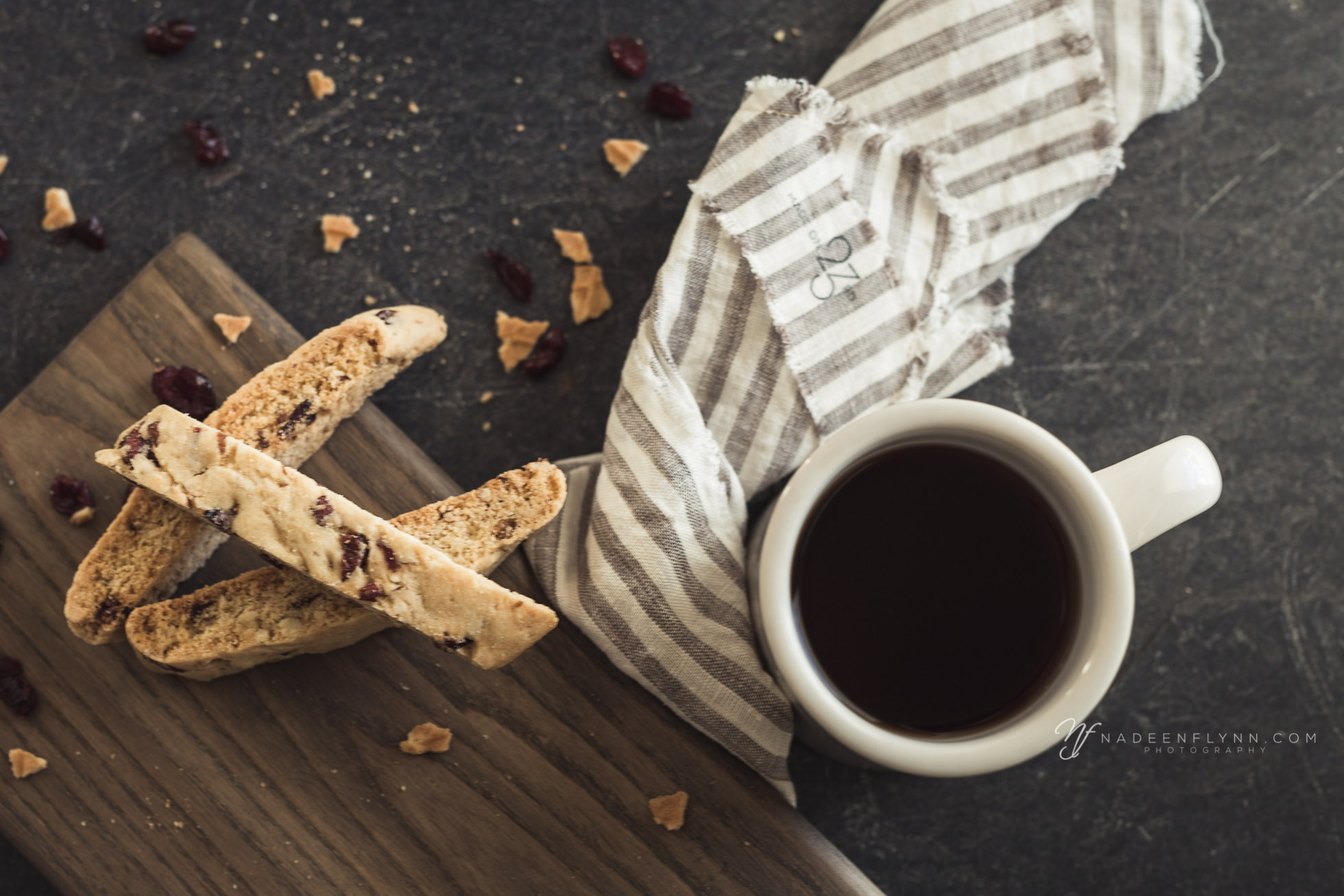 biscotti with coffee and linen, flat lay